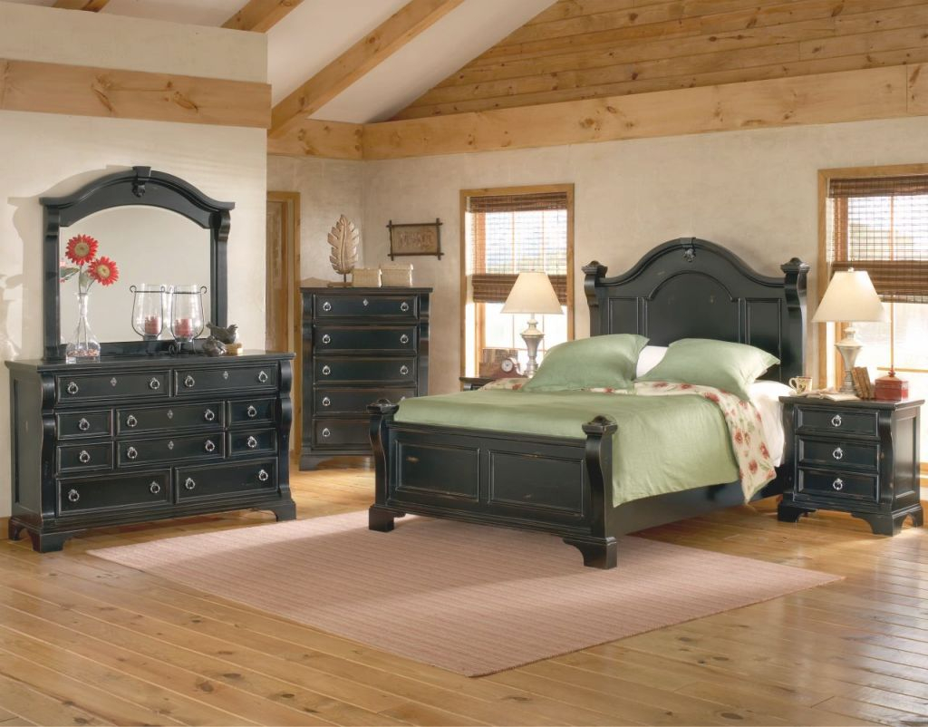 American Woodcrafters Heirloom Collection Poster Bedroom Set In Black With Rub Through Highlights 2900-Posterb pertaining to Lovely King Size Bedroom Furniture Sets