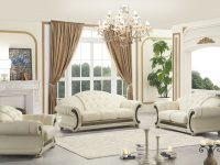 Apolo Living Room Set In Ivory Italian Leather with White Leather Living Room Furniture