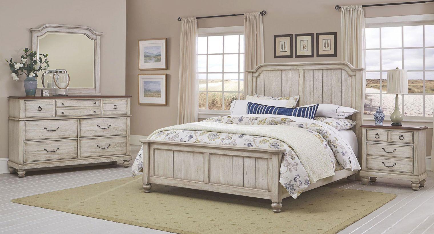 Arrendelle Panel Bedroom Set (Rustic White) intended for Unique Rustic Bedroom Furniture Sets