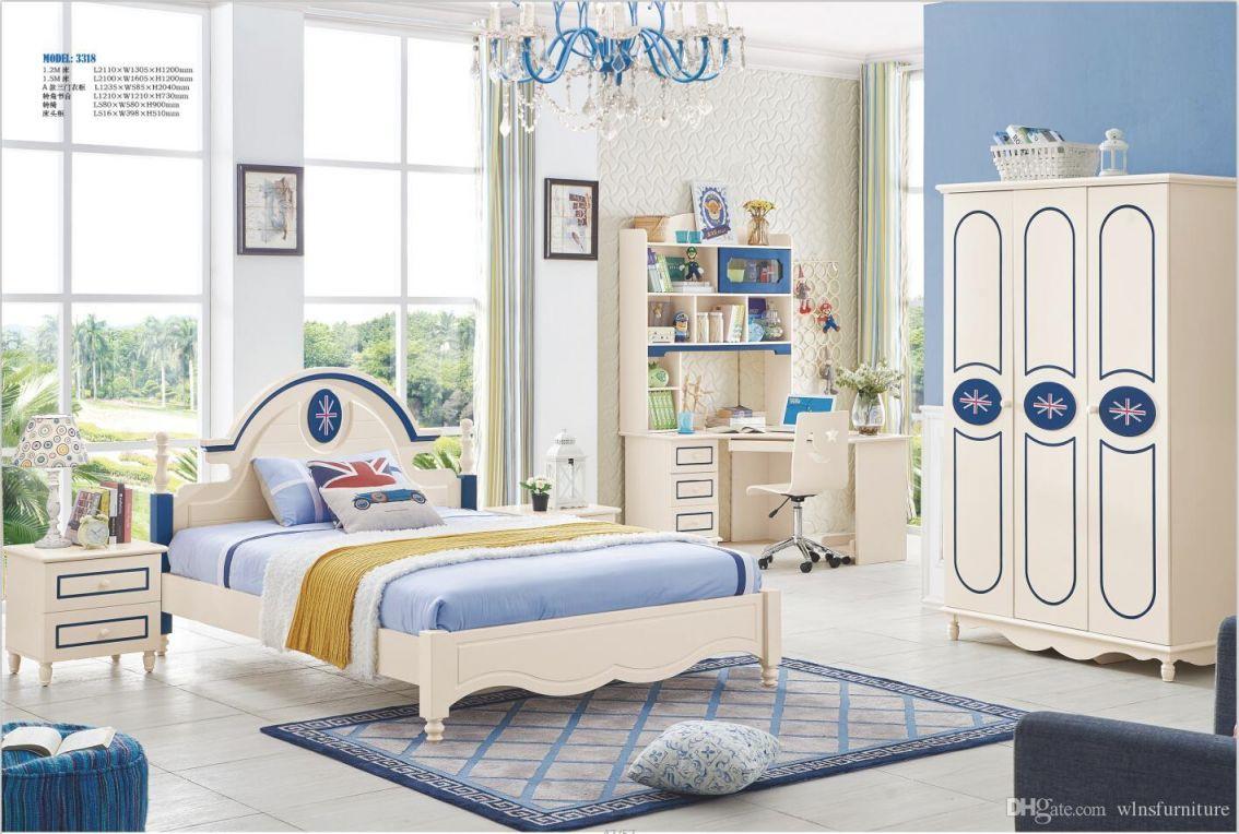 Ash Solid Wood Children Bedroom Furniture Set Modern Fashion Children Bed Wardrobe Desk Bedside Table for Modern Bedroom Furniture Sets