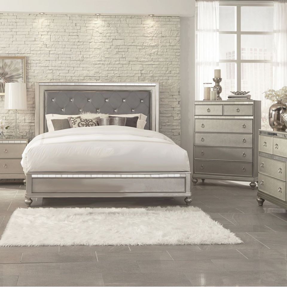 Aurora Champagne 5 Pc King Bedroom pertaining to King Bedroom Furniture Sets