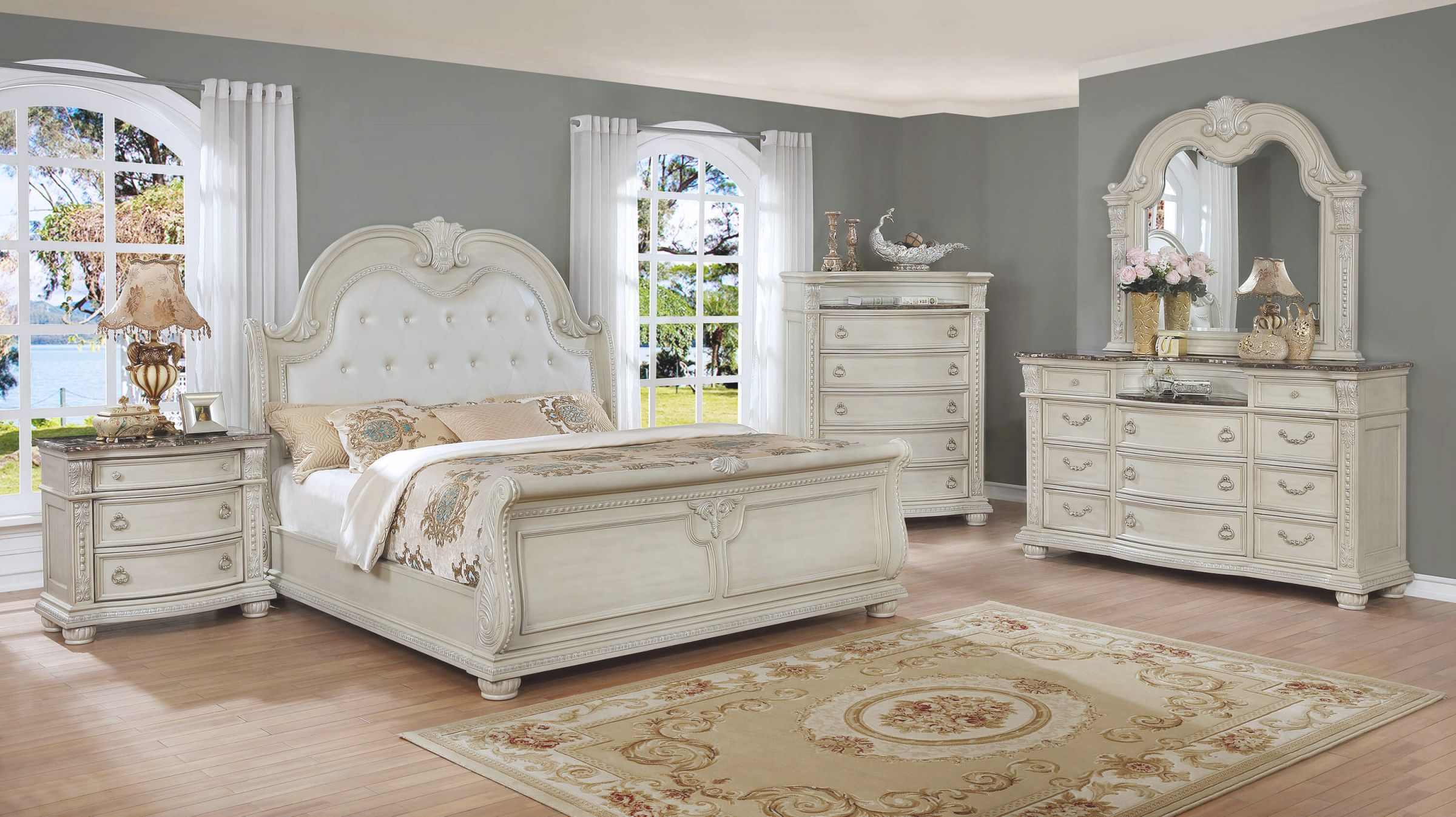 B1630 Stanley Antique White Marble Bedroom Setcrown Mark with White Bedroom Furniture Set