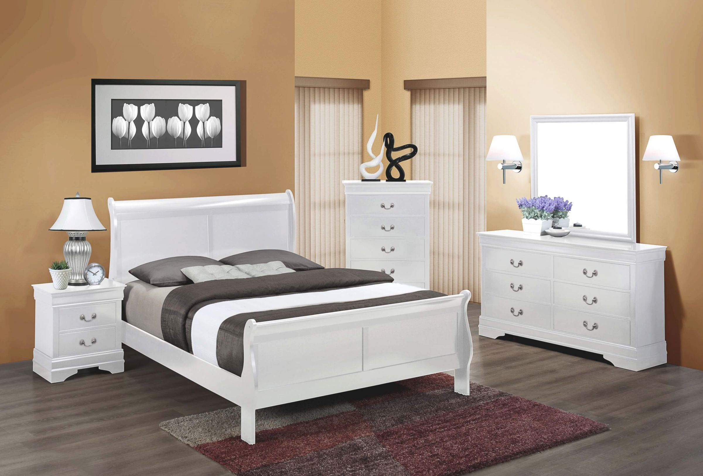 B3600 White Louis Philip Bedroom Setcrown Mark within Full Size Bedroom Furniture Sets