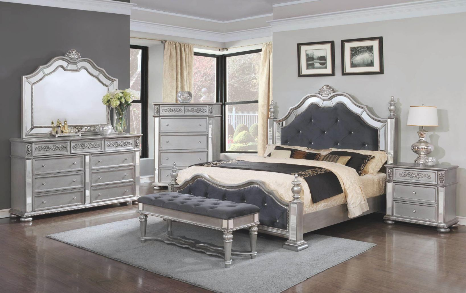 B878 Elegant Silver Bedroom Set regarding Inspirational Complete Bedroom Furniture Sets