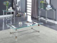 Baur 3 Piece Coffee Table Set in Elegant 3 Piece Glass Coffee Table Set