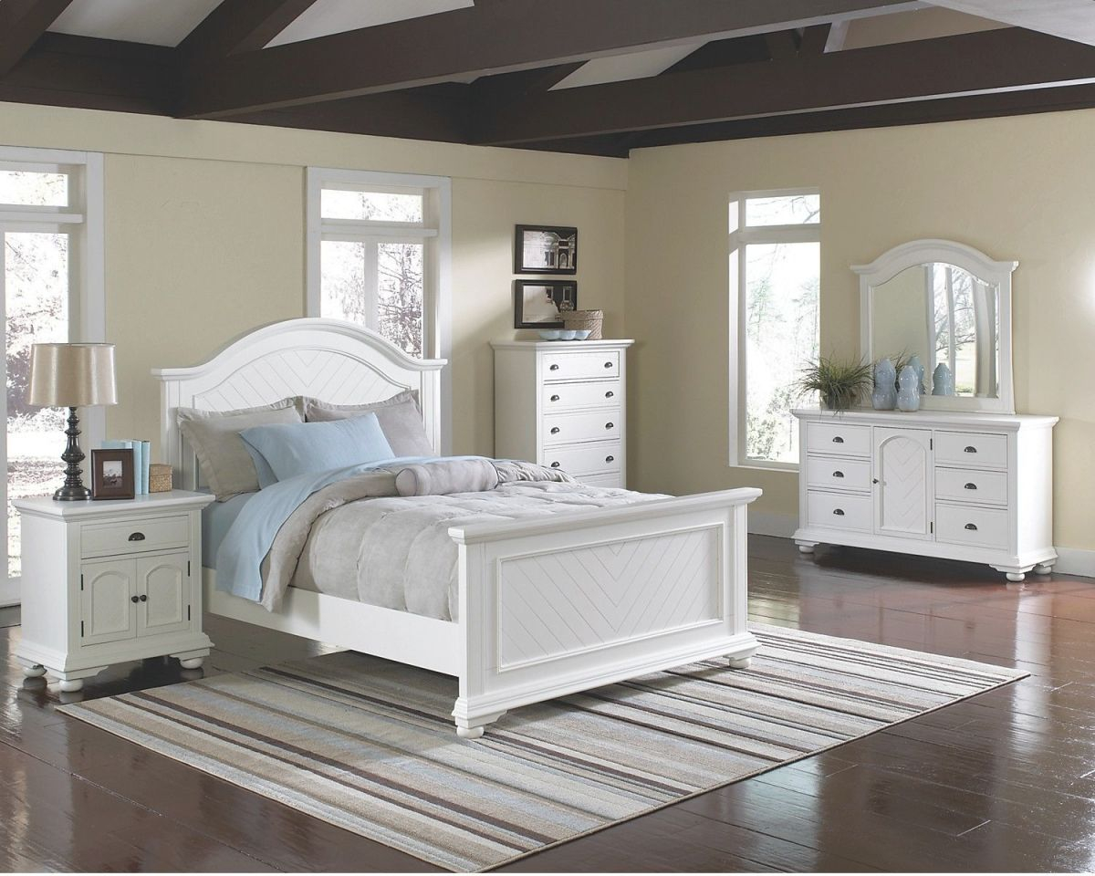 Bedroom Furniture – Brook Off-White 7-Piece Full Bedroom Set inside Cheap White Bedroom Furniture Sets