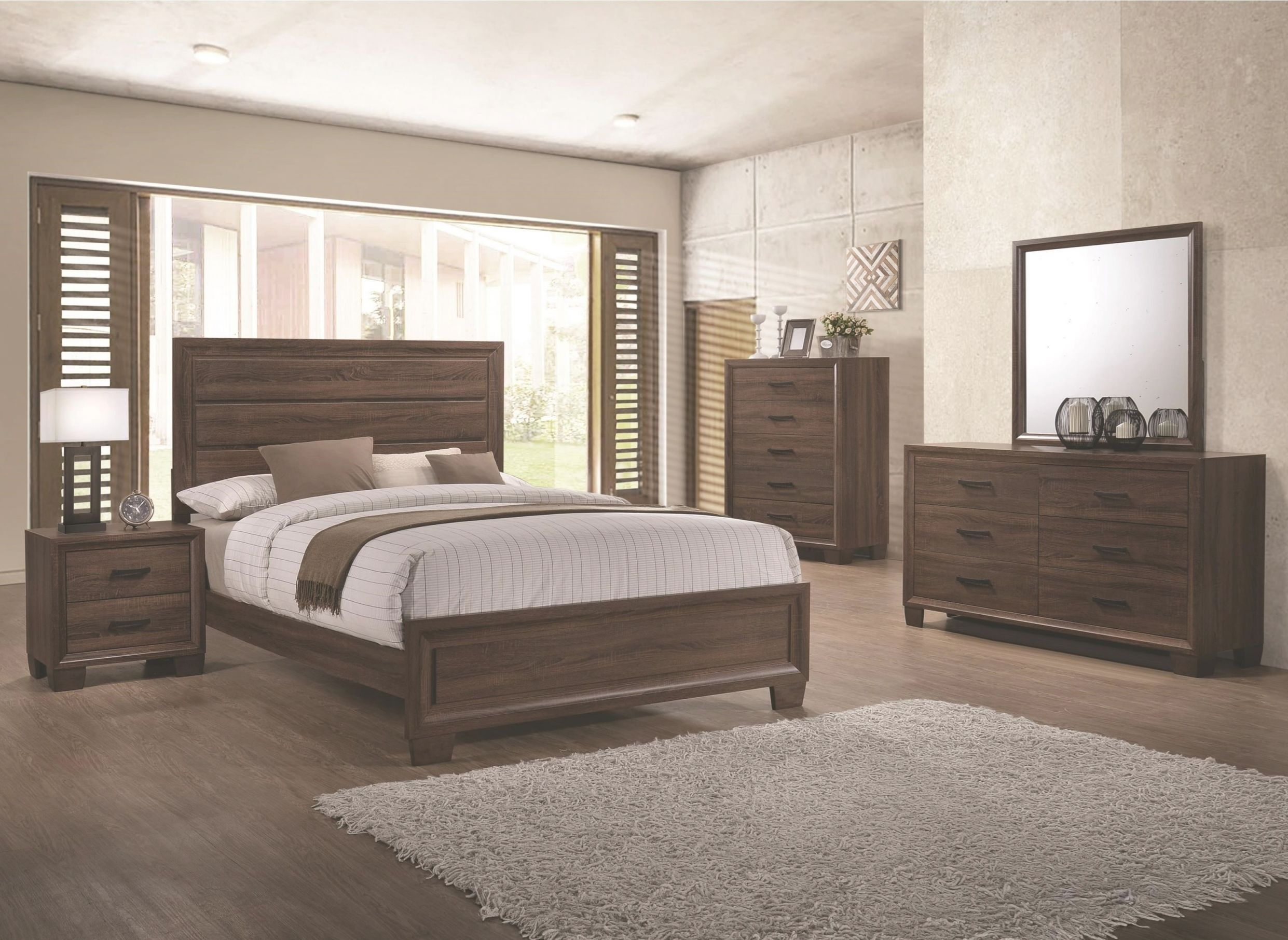 Bedroom Furniture Medium Brown Queen Size Bed Panel Unique 4Pc Set Matching  Dresser Mirror Nightstand Modern with regard to Beautiful Queen Size Bedroom Furniture Sets
