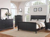 Bedroom Furniture Modern Black Queen Size Bed Dresser Mirror Nightstand 4Pc Set Curved Panel Sleigh Bed regarding Black Bedroom Furniture Set