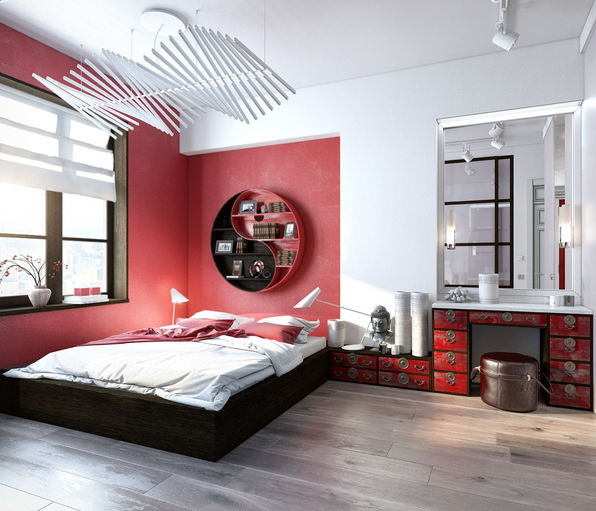 bedroom-with-red-walls