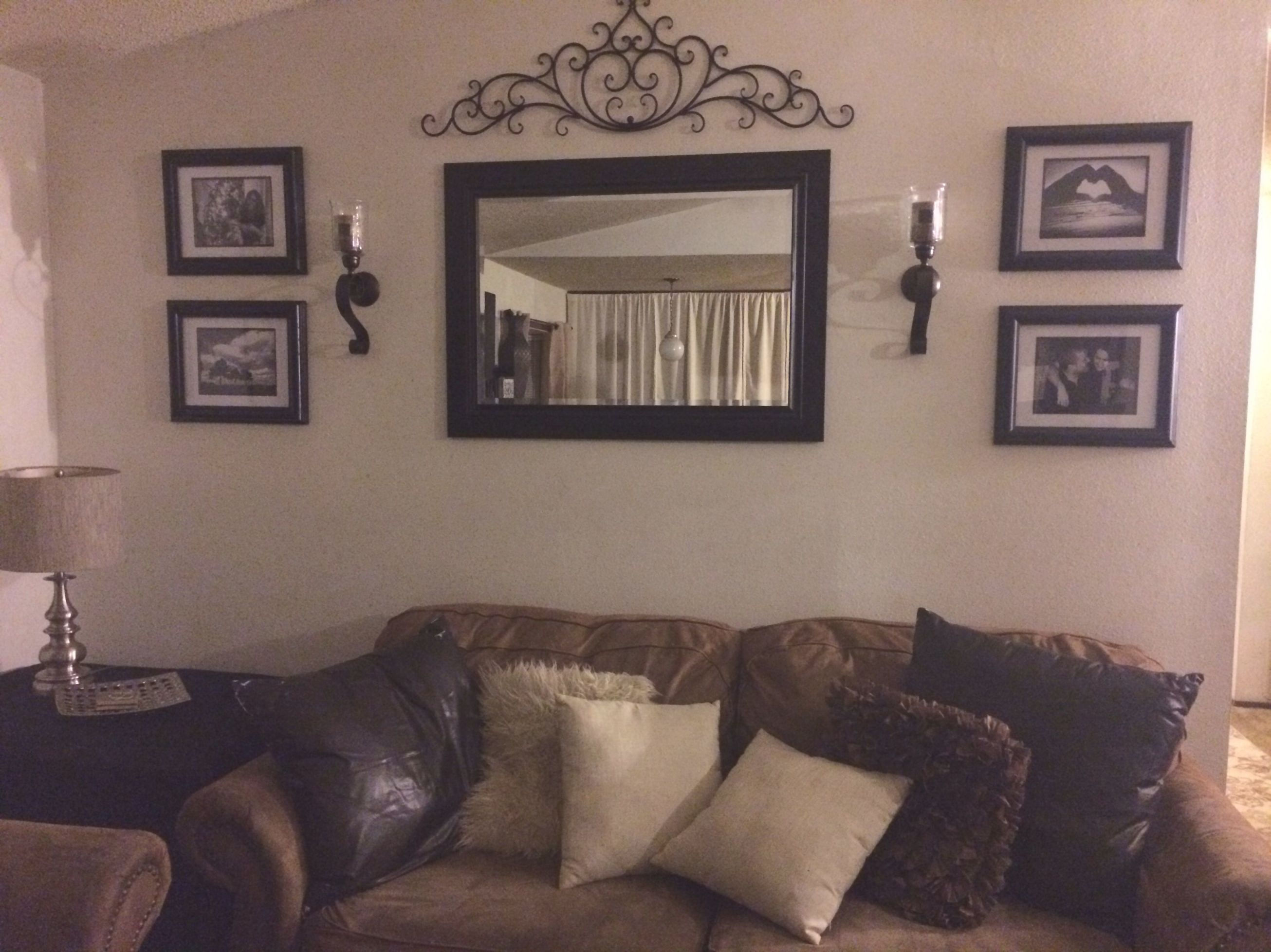 Behind Couch Wall In Living Room Mirror, Frame, Sconces, And for Decorating Walls In Living Room