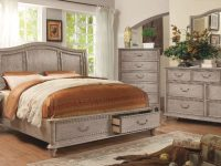Belgrade I Natural Rustic Tone Finish Cal King Size Bed W/ Footboard Storage intended for Inspirational California King Size Bedroom Furniture Sets