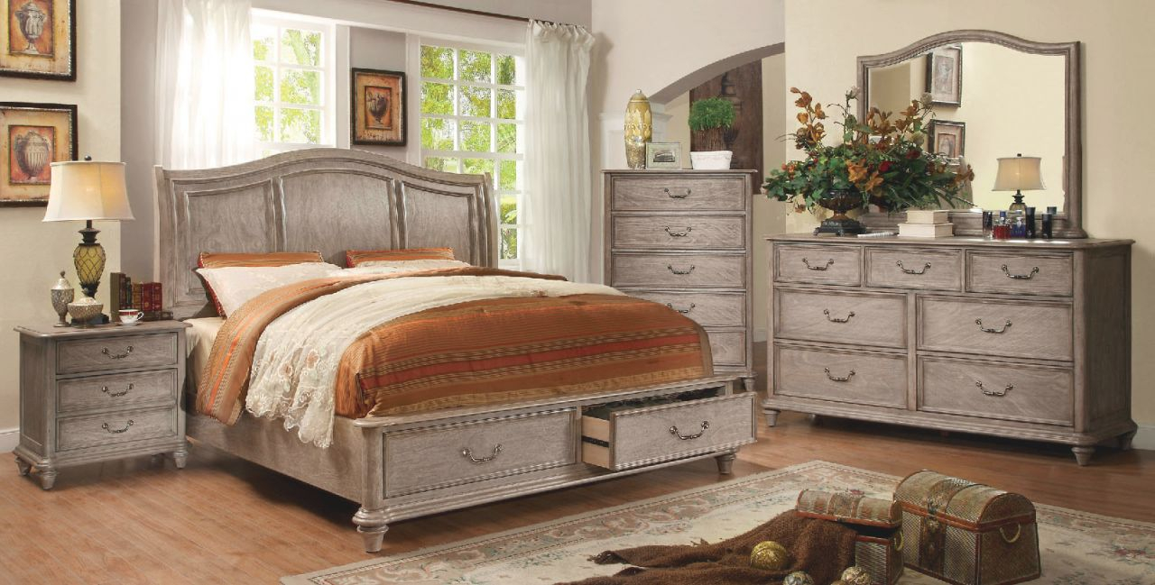 Belgrade I Natural Rustic Tone Finish Eastern King Size Bed W/ Footboard Storage throughout Unique Rustic Bedroom Furniture Sets