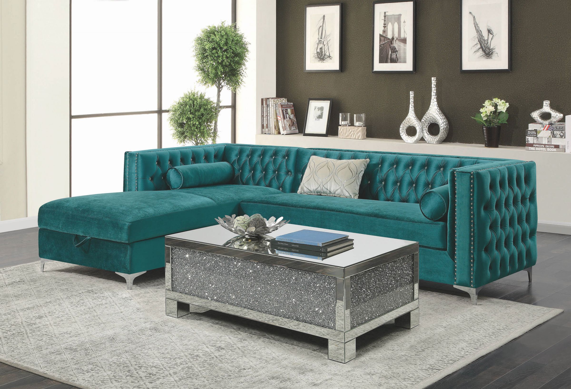 Bellaire Glam Luxurious Teal Green Velvet Fabric Sofa Sectional W/ Jeweled Tufting, Nailhead Trim & Storage Chaise in Elegant Teal Living Room Furniture