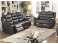 Bennett 2-Piece Black Leather Transitional Living Room Set With 4 Recliners pertaining to Transitional Living Room Furniture