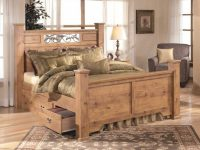 Bittersweet Poster Bedroom Set With Underbed Storage In Pine Grain in Cheap Queen Bedroom Furniture Sets