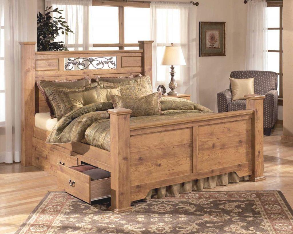 Bittersweet Poster Bedroom Set With Underbed Storage In Pine Grain in Cheap Queen Bedroom Furniture Sets
