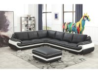 Black And White Modern Contemporary Real Leather Sectional Living Room Furniture Set With Ottoman regarding Luxury White Living Room Furniture Sets