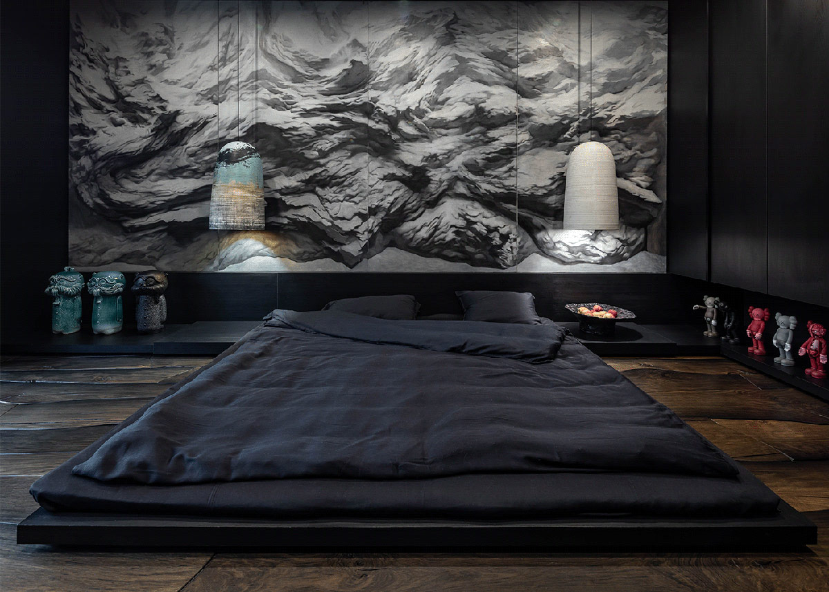 black-floor-bed