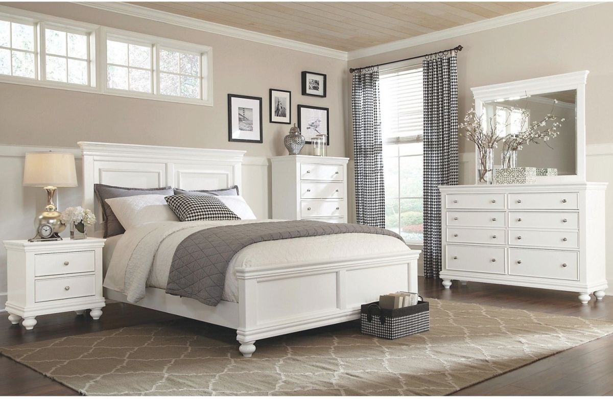 Bridgeport 6-Piece Queen Bedroom Set – White | 2442 Bristol within Luxury Bedroom Set Queen White