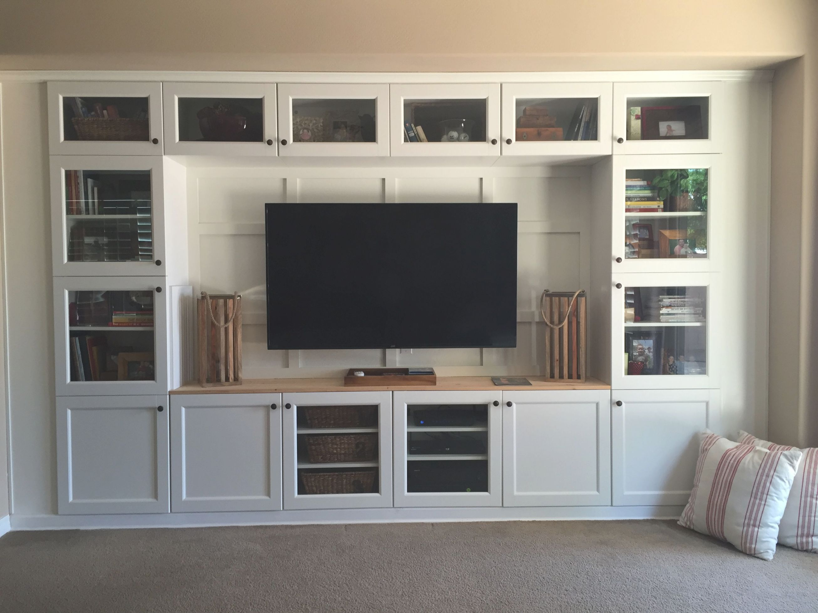 Built In Media Using Ikea Cabinets And Lumber. | Living Room inside Ikea Wall Cabinets Living Room