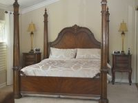 California King Size Poster Bed Dark Brown Finish Bedroom Furniture for King Size Bedroom Furniture Sets