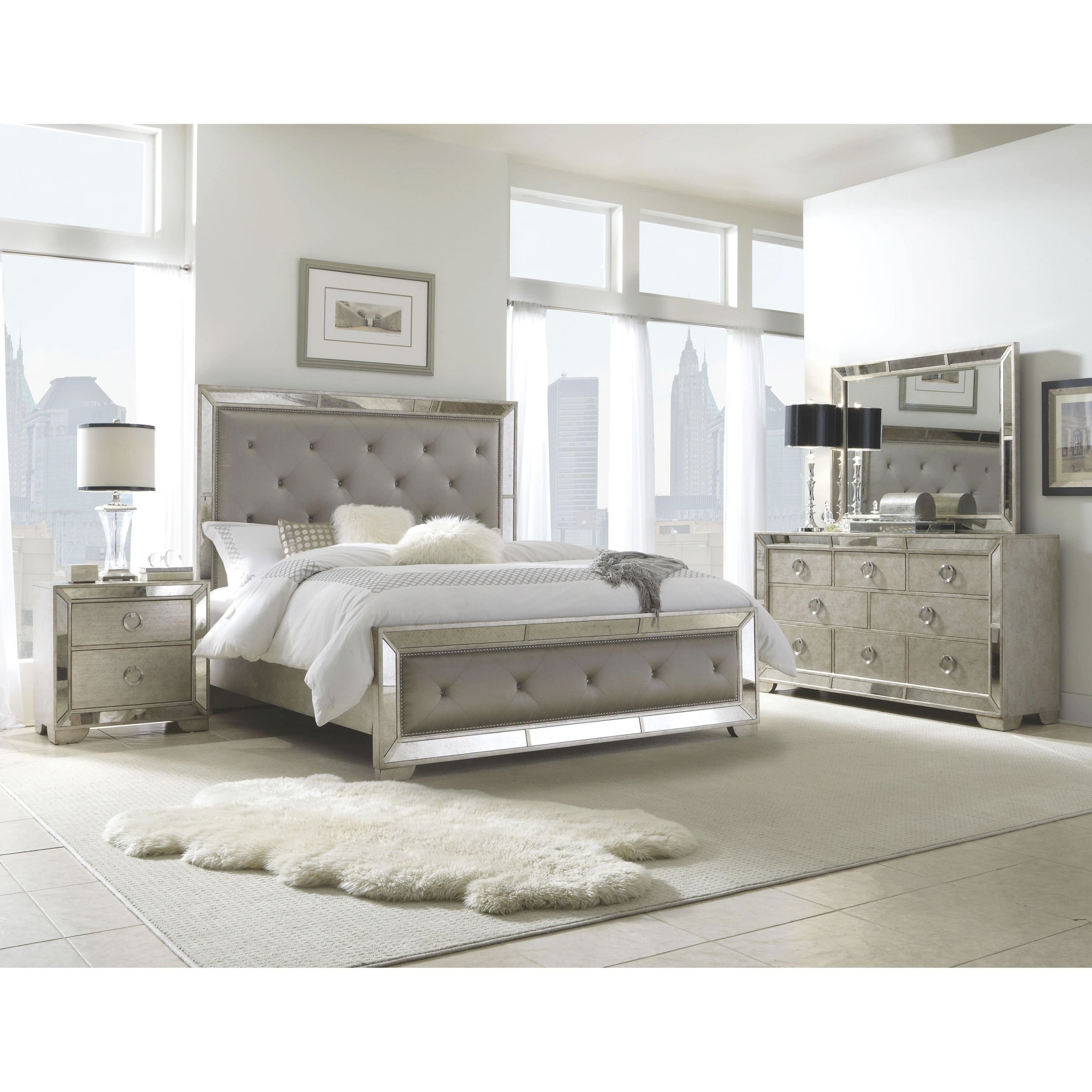 Celine 6-Piece Mirrored And Upholstered Tufted Queen-Size Bedroom Set regarding Beautiful Queen Size Bedroom Furniture Sets