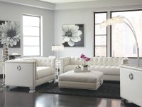 Chaviano Contemporary White 3-Piece Living Room Set with Luxury White Living Room Furniture Sets