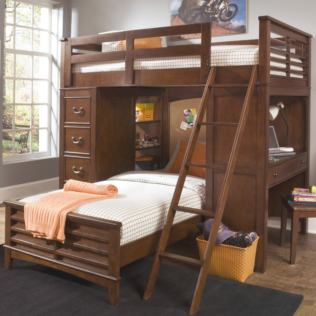 Chelsea Square Youth Twin Loft Bed Unit With Built-In Desk And Chest Freedom Furniture At Ruby Gordon Home with regard to Bedroom Set With Desk