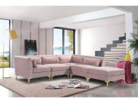 Chic Home Guison Modular Chaise Sectional Sofa With 6 Throw Pillows with Modular Living Room Furniture