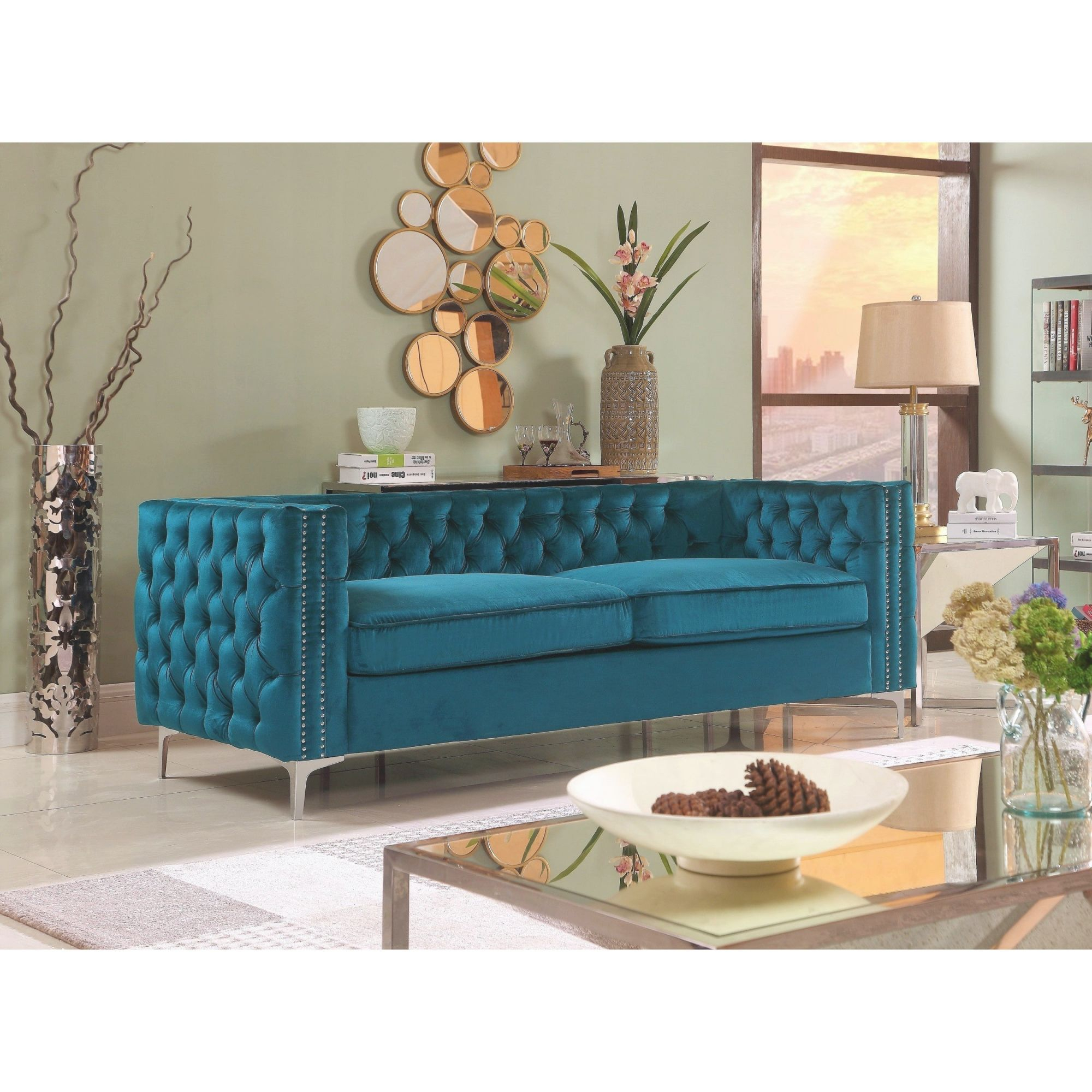 Chic Home Monet Button Tufted Teal Velvet Upholstered Sofa with regard to Teal Living Room Furniture