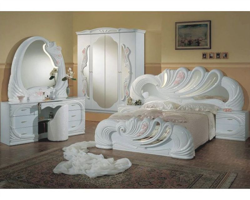 Classic Bedroom Set Made In Italy, White Finish 44B8411W with regard to Fresh Bedroom Set With Vanity