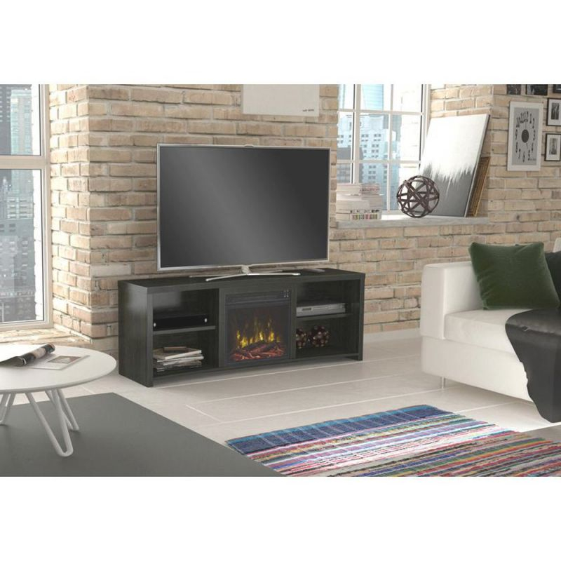 Classic Flame Shelter Cove 59.5 In. Media Console Electric Fireplace Tv Stand In Black Walnut intended for Awesome Stylish Tv Unit
