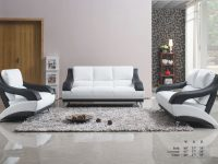 Classic Unique Modern Vance Bonded Leather White / Black 3Pc Sofa Set Sofa Loveseat Chair Living Room Furniture Metal Legs throughout Luxury White Living Room Furniture Sets