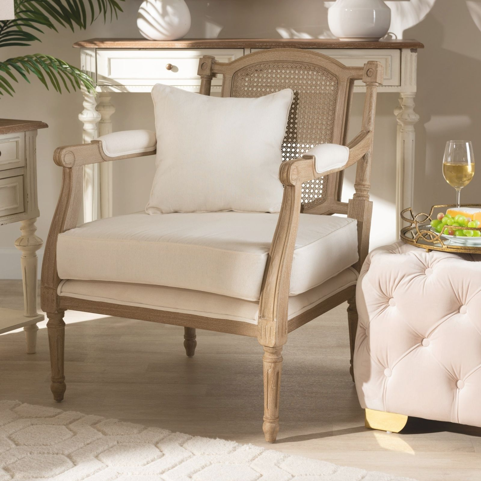 Clemence French Provincial Ivory Fabric Upholstered Wood Armchair regarding New French Provincial Living Room Furniture