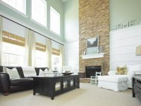 Coastal Two-Story Living Room With Stone Fireplace | Hgtv in 2 Story Living Room Decorating Ideas