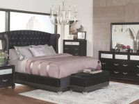 Coaster Furniture Barzini Glamorous 4-Piece Upholstered Bedroom Set In Black pertaining to Elegant Black Bedroom Furniture Set