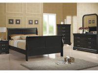 Coaster Louis Philippe Sleigh Bedroom Set In Black 203961 with regard to Black Bedroom Furniture Set