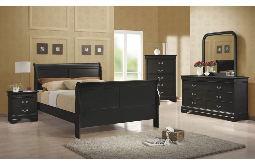 Coaster Louis Philippe Sleigh Bedroom Set In Black 203961 with regard to Luxury Full Size Bedroom Furniture Sets