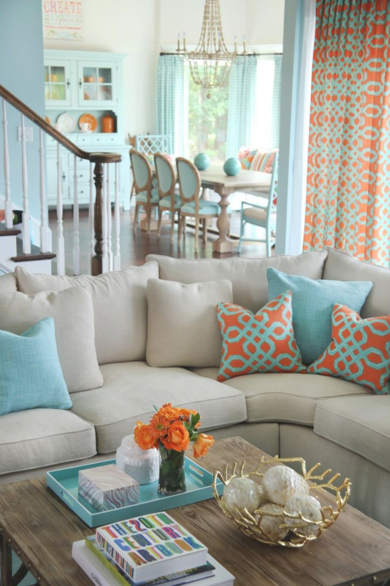 Lovely Aqua Living Room Decorating Ideas Awesome Decors