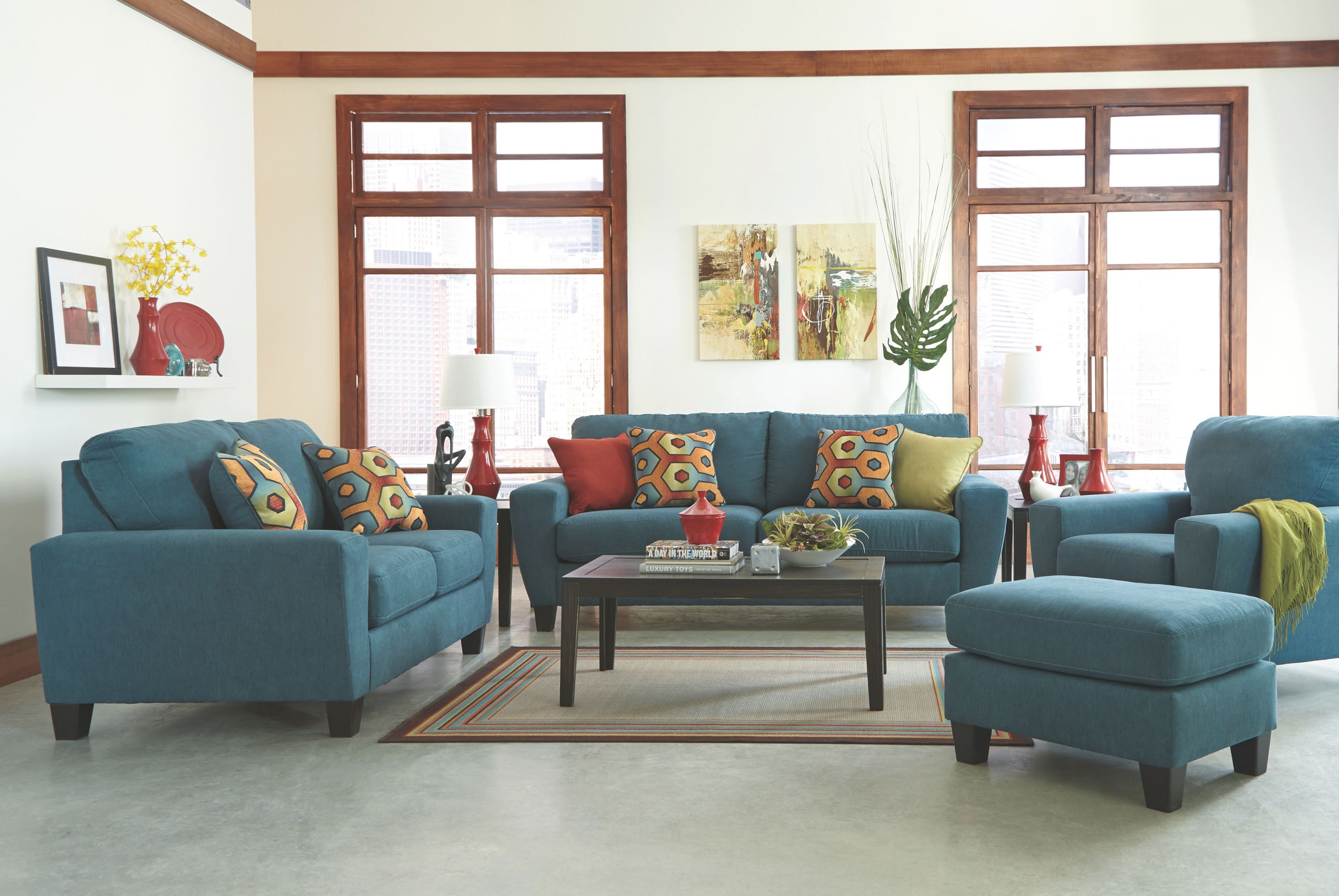 Contemporary Teal Sofa with Elegant Teal Living Room Furniture