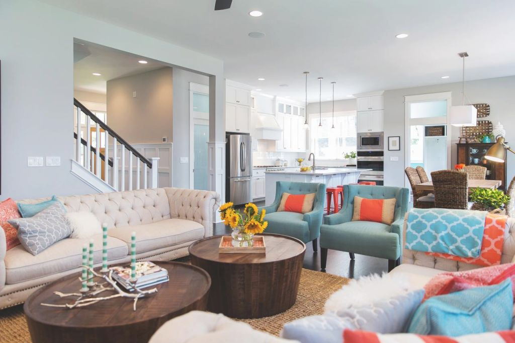 Coral And Turquoise Color Palette Inspiration | Hgtv's intended for Elegant Turquoise Living Room Furniture