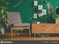 Cozy Green Retro Living Room Interior Chair Cupboard Plant inside Retro Living Room Decor