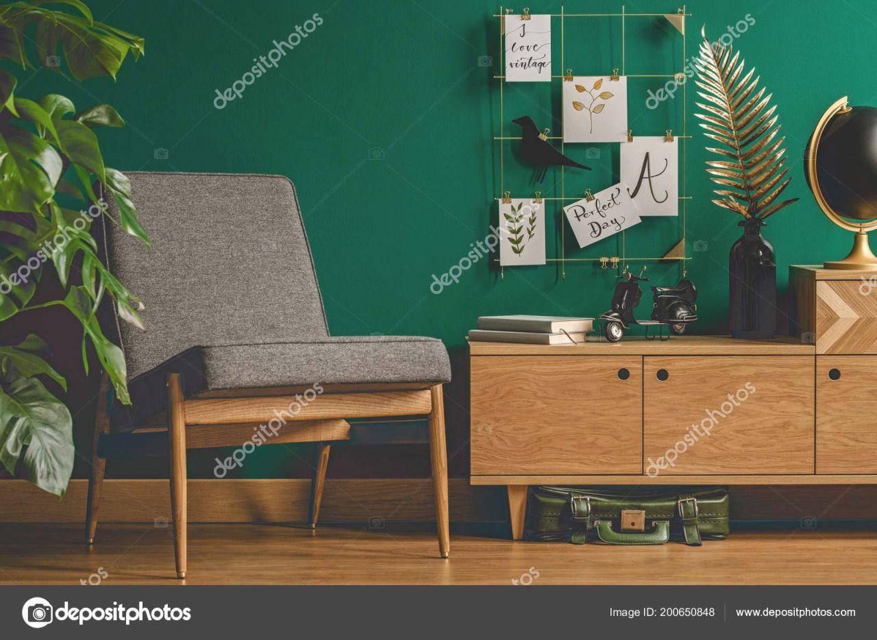 Cozy Green Retro Living Room Interior Chair Cupboard Plant inside Retro Living Room Decor