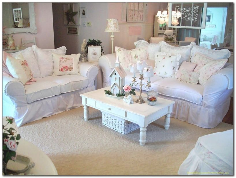 Cute Shabby Chic Living Room Decor With White Sofa intended for Shabby Chic Living Room Furniture