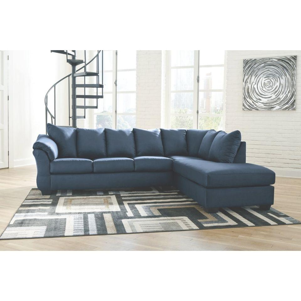 Darcy 2-Piece Sectional With Right Facing Chaise – Blue regarding Elegant 2 Piece Sectional With Chaise