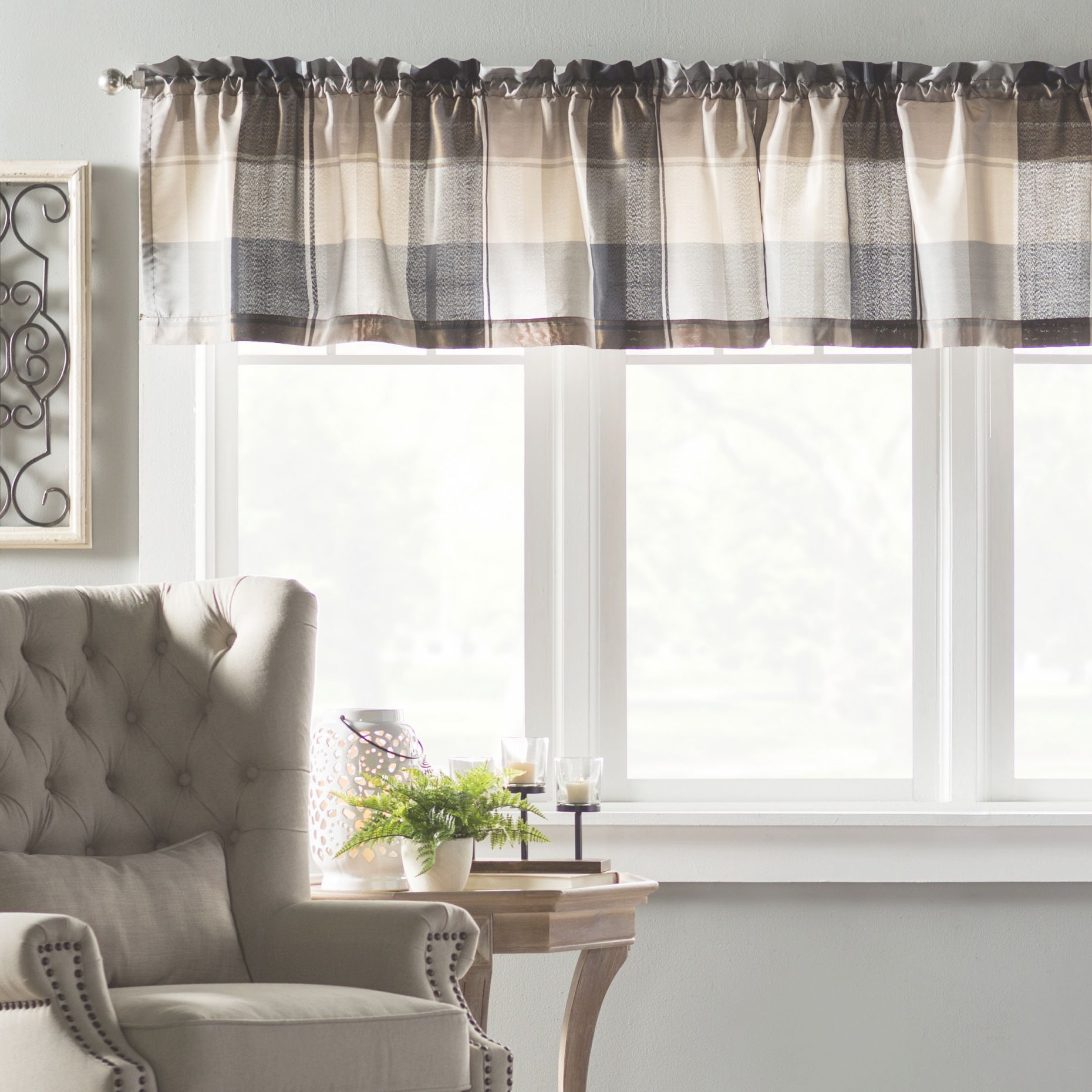 "Dempsey 54"" Curtain Valance with regard to Best of Curtains For Living Room With Brown Furniture"