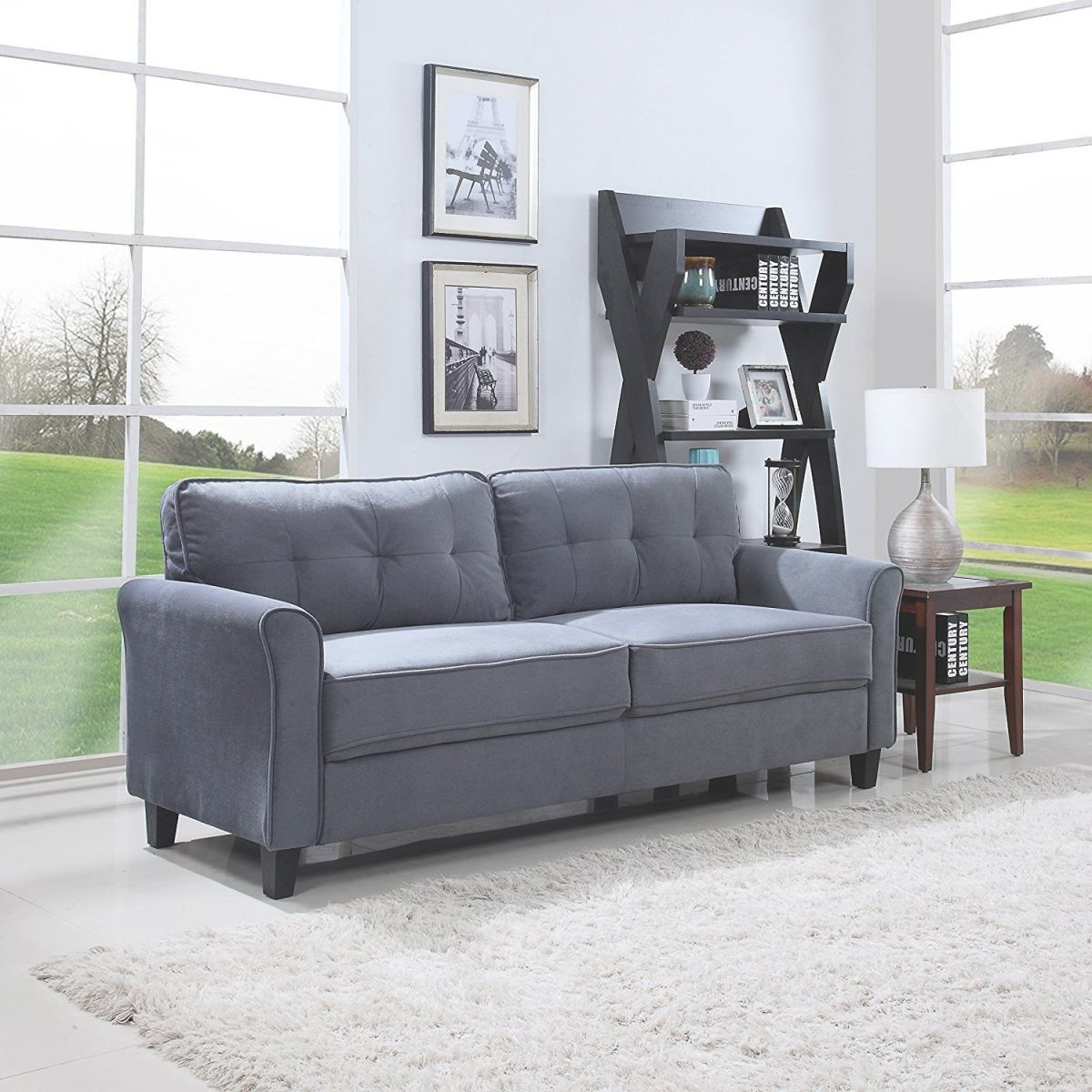 Details About Classic Ultra Comfortable Brush Microfiber Fabric Living Room Sofa (Dark Grey) with Living Room Furnitures