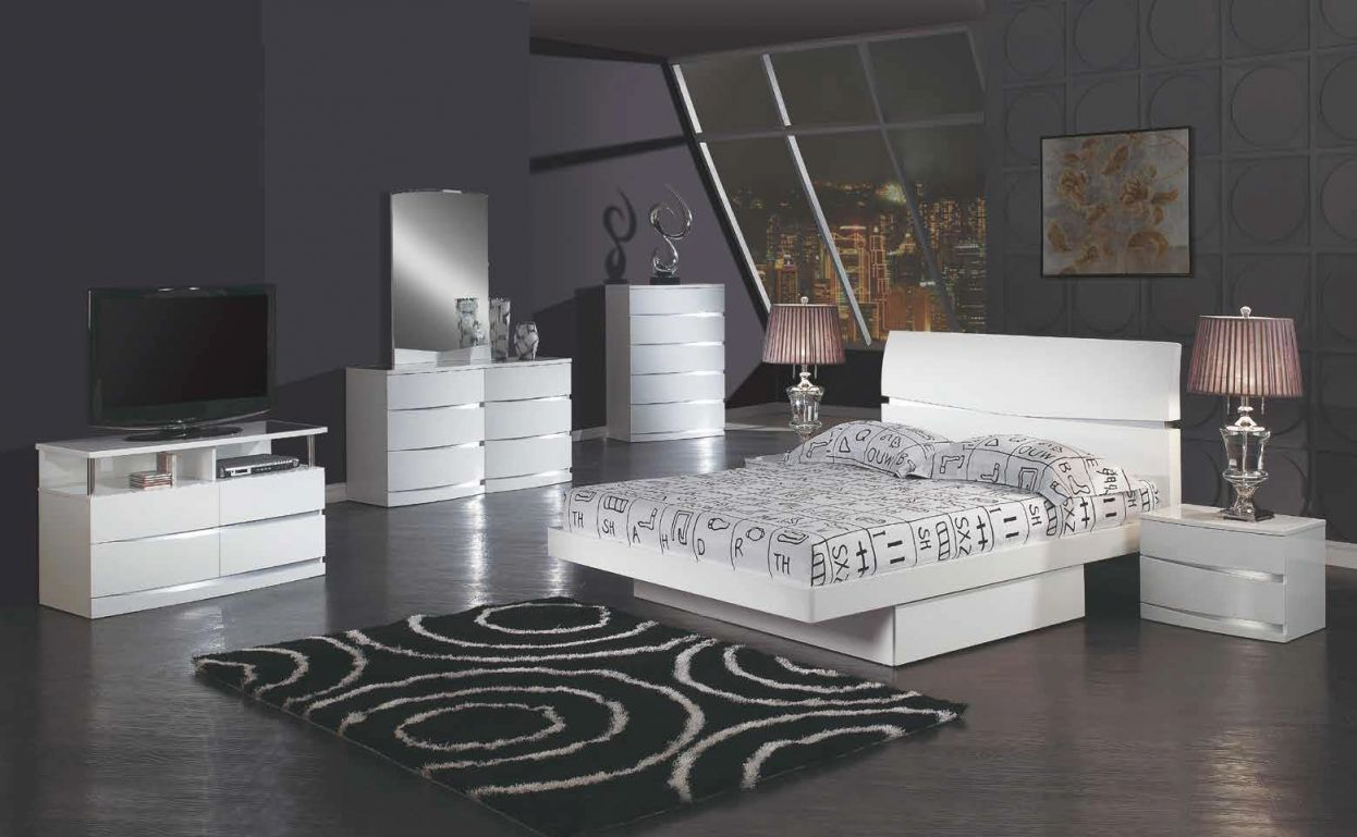 Details About De Anjie – Full Size Modern Black / Crystal Bedroom Set 5Pc throughout Luxury Full Size Bedroom Furniture Sets