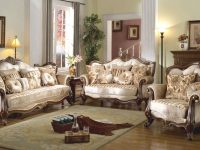 Details About French Provincial Formal Antique Style 2Pc Sofa & Loveseat Set In Beige Chenille pertaining to New French Provincial Living Room Furniture