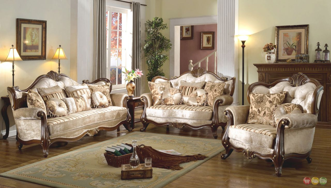Details About French Provincial Formal Antique Style 2Pc Sofa & Loveseat Set In Beige Chenille throughout Designer Living Room Furniture